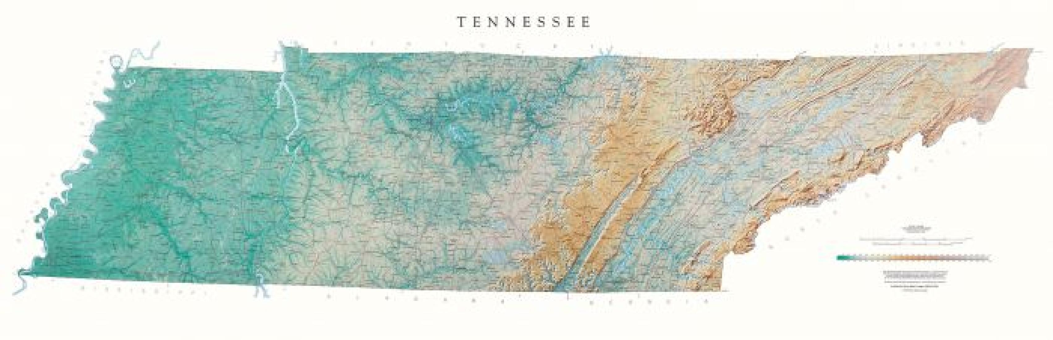 Tennessee - Physical, Laminated Wall Map by Raven Maps on