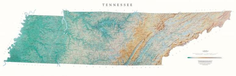 Tennessee - Physical, Laminated Wall Map by Raven Maps