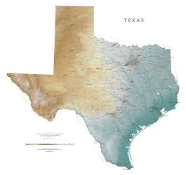 Texas, Physical, Laminated Wall Map by Raven Press