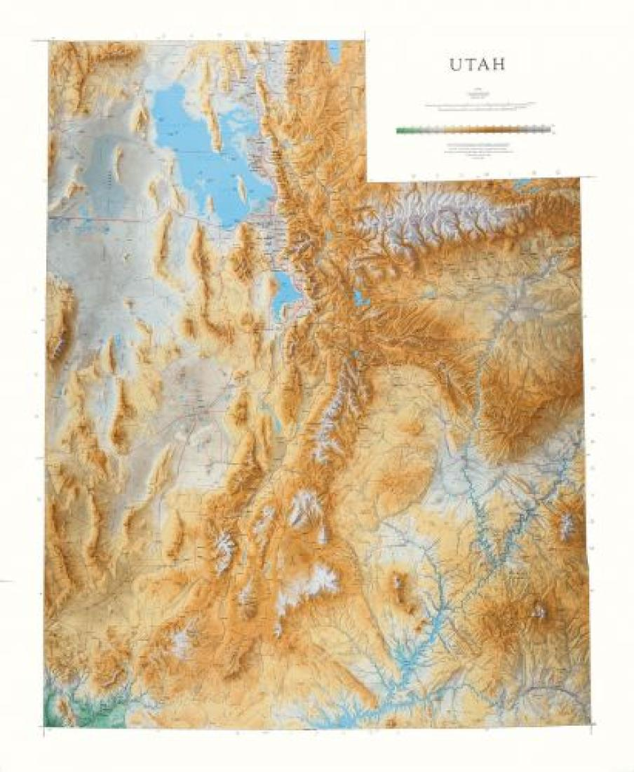 Utah, Physical Wall Map by Raven Maps