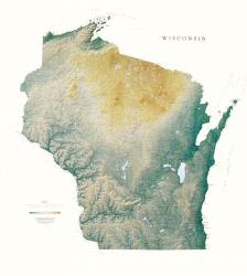 Wisconsin, Physical Wall Map by Raven Press