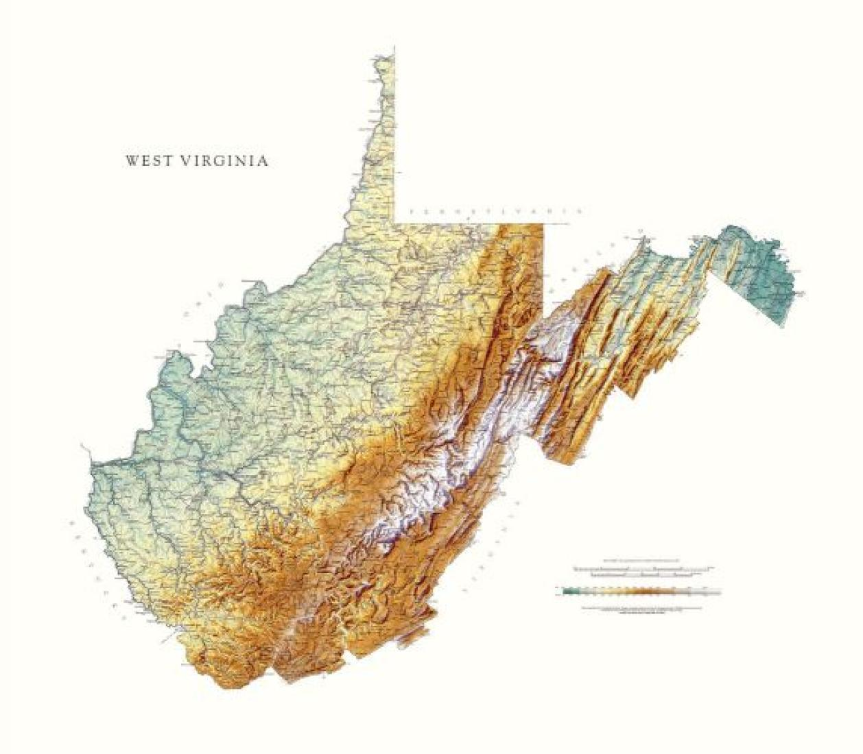 West Virginia Physical Laminated Wall Map By Raven Maps