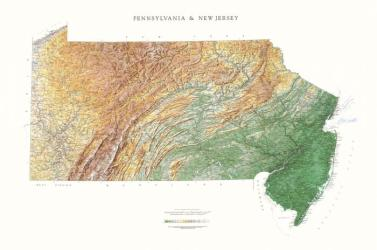 Pennsylvania and New Jersey, Physical, Laminated by Raven Maps