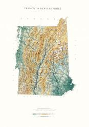 Vermont & New Hampshire, Physical, Laminated by Raven Maps