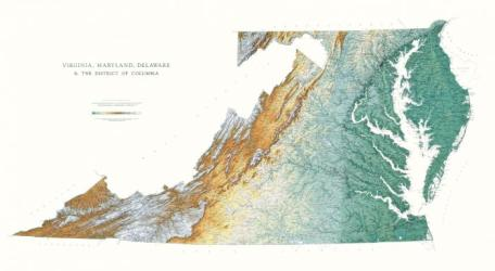 Virginia, Maryland, Delaware, & DC - Physical, Laminated Wall Map by Raven Maps