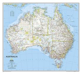 Australia Classic Wall Map (30.25 x 27 inches) (Tubed) by National Geographic Maps