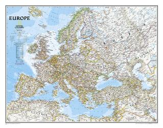 Europe Classic Wall Map (30.5 x 23.75 inches) (Tubed) by National Geographic Maps