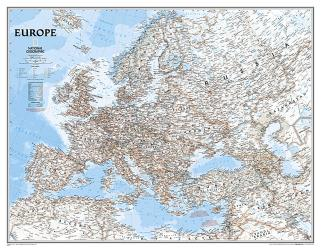 Europe Classic Enlarged Wall Map (46 x 35.75 inches) (Tubed) by National Geographic Maps