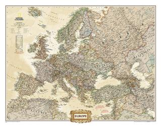 Europe Executive Enlarged Wall Map (46 x 35.75 inches) (Tubed) by National Geographic Maps
