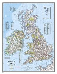 Britain and Ireland Classic Wall Map (23.5 x 30.25 inches) (Tubed) by National Geographic Maps