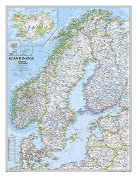 Scandinavia Classic Wall Map (23.5 x 30.25 inches) (Tubed) by National Geographic Maps