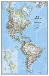 The Americas Classic Wall Map (23.75 x 36.5 inches) (Tubed) by National Geographic Maps