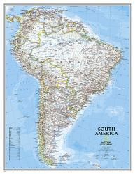 South America Classic Enlarged Wall Map (35.75 x 46.25 inches) (Tubed) by National Geographic Maps