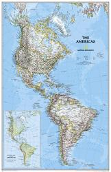 The Americas Classic Wall Map - Laminated (23.75 x 36.5 inches) by National Geographic Maps
