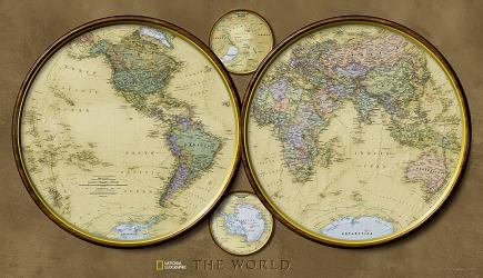 World, Hemispheres, Tubed Wall Map by National Geographic Maps