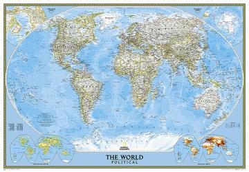 World, Classic, Enlarged and Laminated by National Geographic Maps