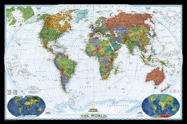 World, Decorator, Enlarged and Laminated by National Geographic Maps
