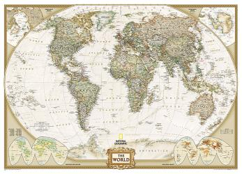 World, Executive, Mural by National Geographic Maps