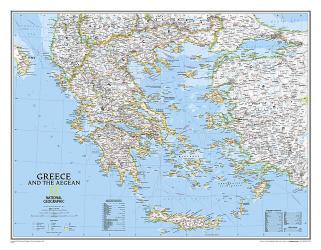 Greece Classic Wall Map (30.25 x 23.5 inches) (Tubed) by National Geographic Maps