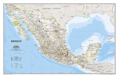 Mexico Classic Wall Map - Laminated (34.5 x 22.5 inches) by National Geographic Maps
