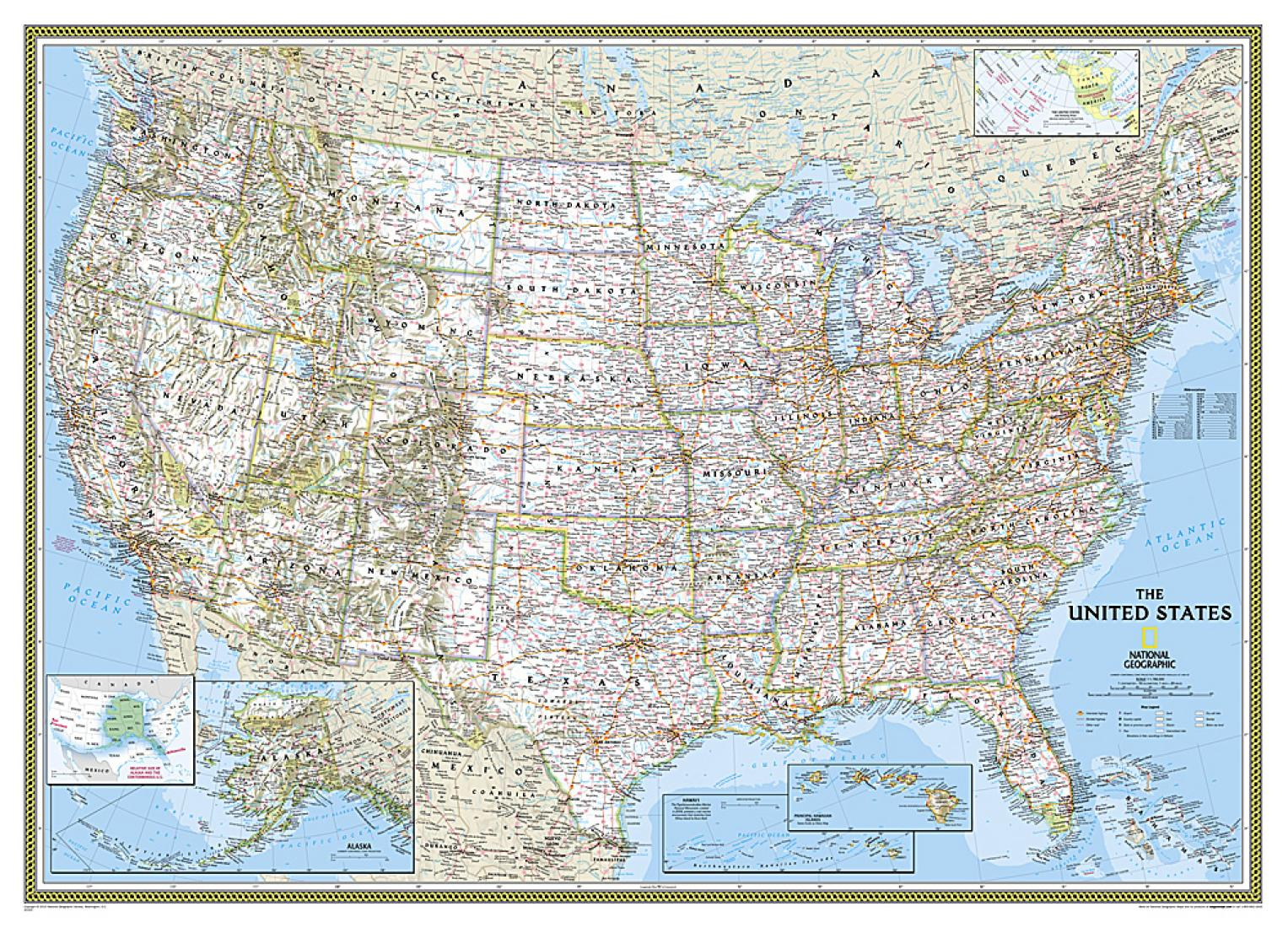 NATIONAL GEOGRAPHIC map 1946 The United States of America USA ...
