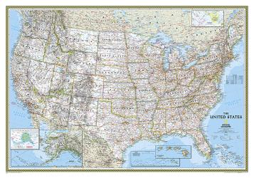 United States Classic Wall Map - Laminated (43.5 x 30.5 inches) by National Geographic Maps