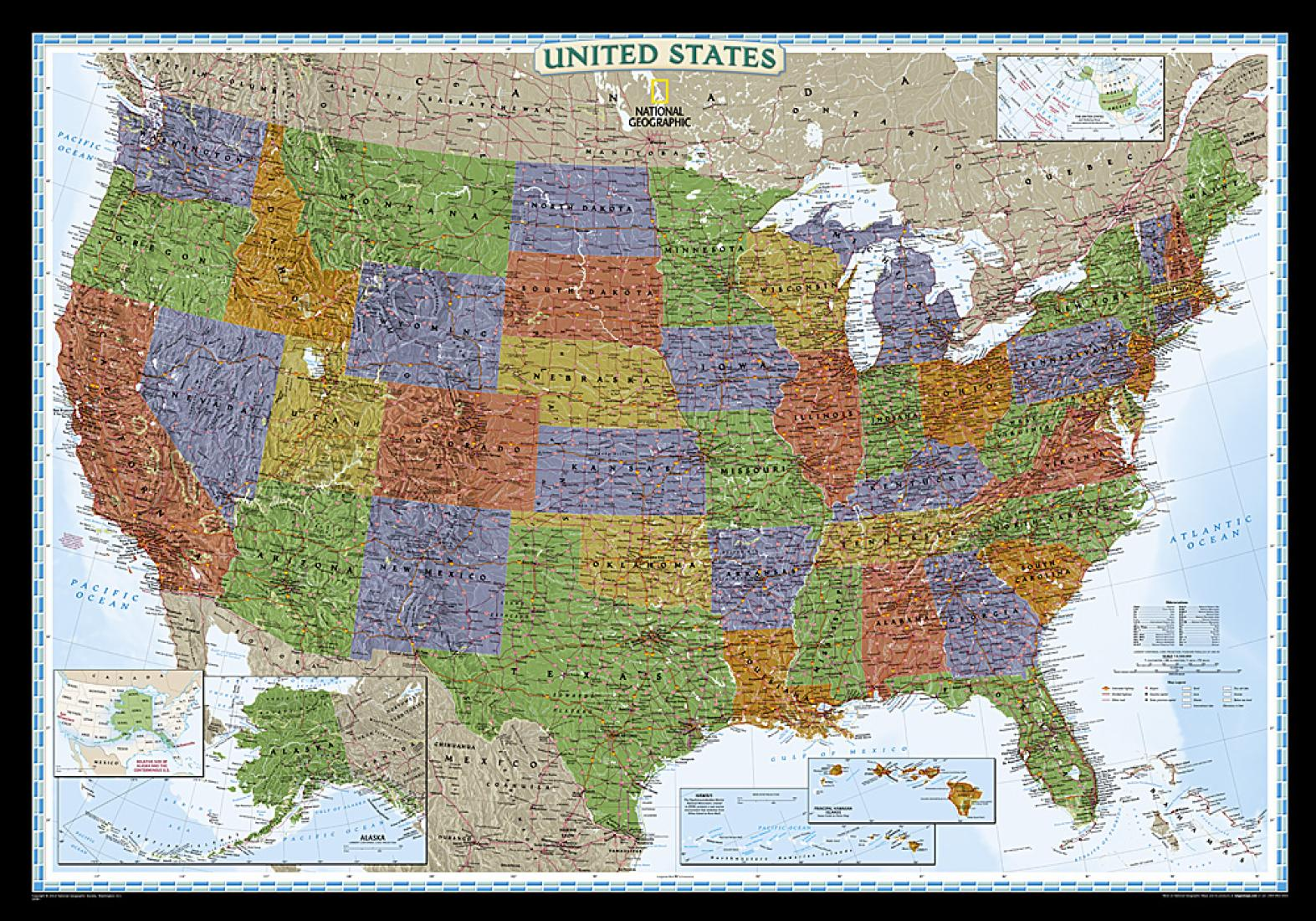 United States, Decorator, Tubed by National Geographic Maps