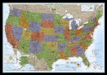 United States, Decorator, Laminated by National Geographic Maps