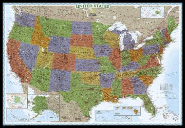 United States, Decorator, Enlarged and Tubed by National Geographic Maps