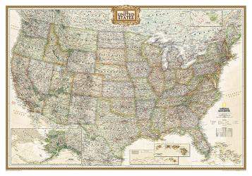 United States, Executive, Tubed by National Geographic Maps