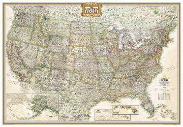 United States Executive Enlarged Wall Map (69.25 x 48 inches) (Tubed) by National Geographic Maps
