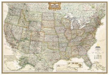 United States - Executive, Enlarged and laminated by National Geographic Maps