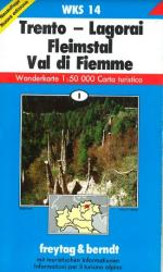 Trento, Lagorai, Fiemme Valley, Hiking Map WKS 14 by Freytag-Berndt und Artaria