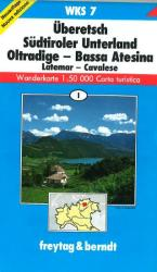Etschtal, the Lowlands, South Tyrol, Hiking map WKS 7 by Freytag-Berndt und Artaria