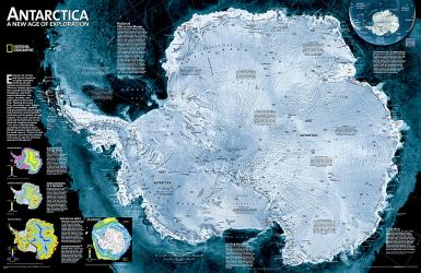 Antarctica Satellite Wall Map (31.25 x 20.25 inches) (Tubed) by National Geographic Maps