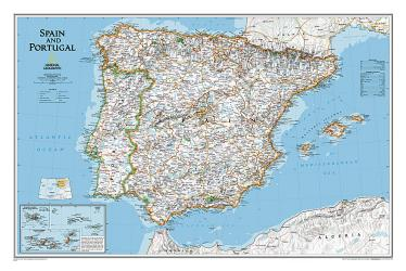 Spain and Portugal Classic Wall Map (33 x 22 inches) (Tubed) by National Geographic Maps
