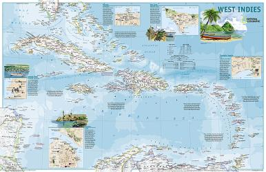 West Indies Traveler's Map, 2 sided, Laminated by National Geographic Maps