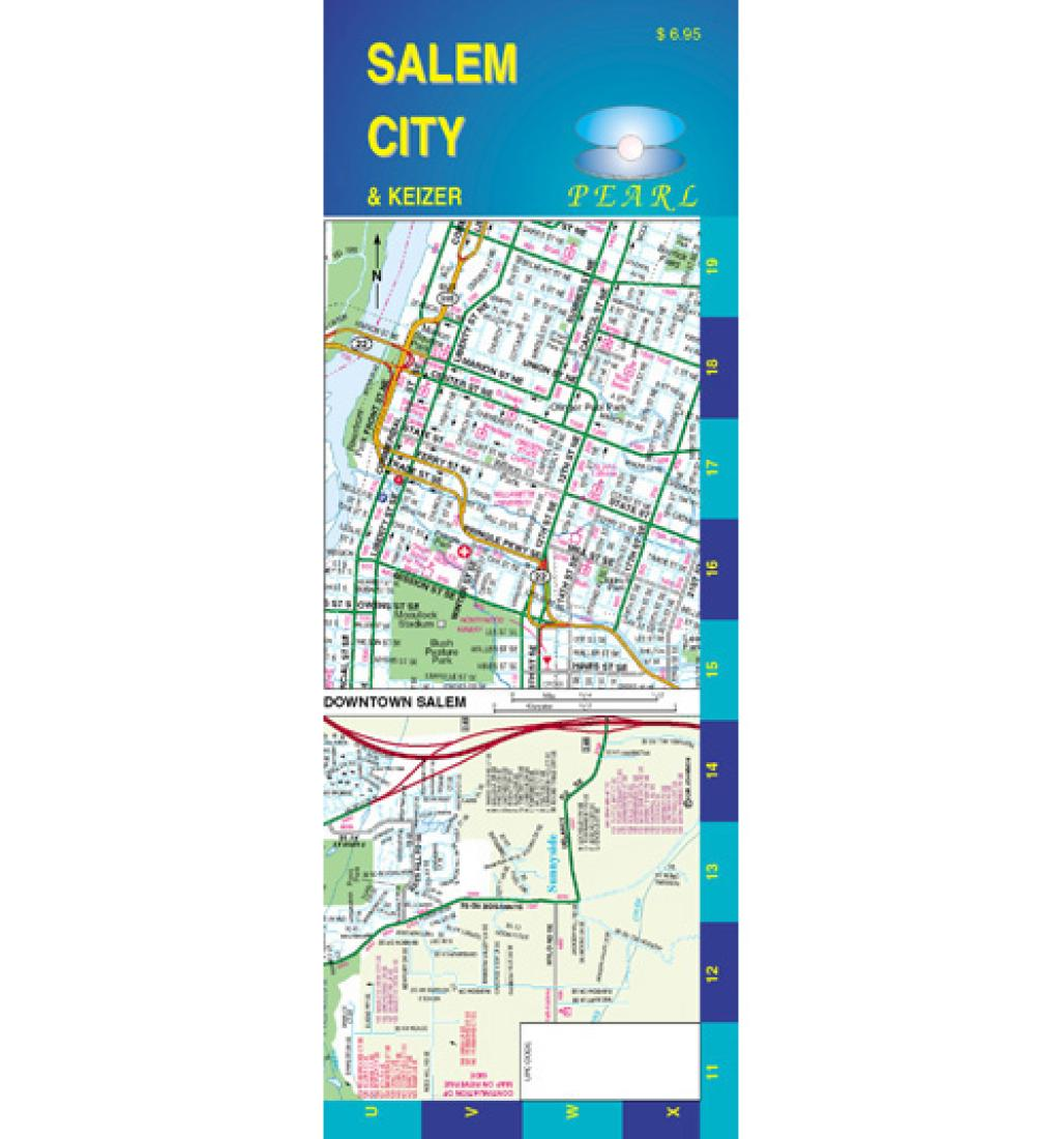 Salem and Keizer, Oregon, Pearl Map, laminated by GM Johnson