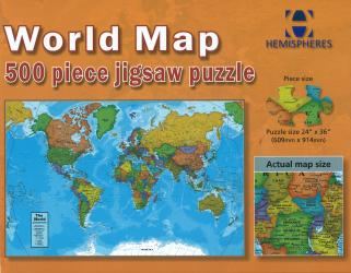 World Map, 500 Piece Puzzle by Hema Maps