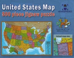 United States Map, 500 Piece Puzzle by Hema Maps