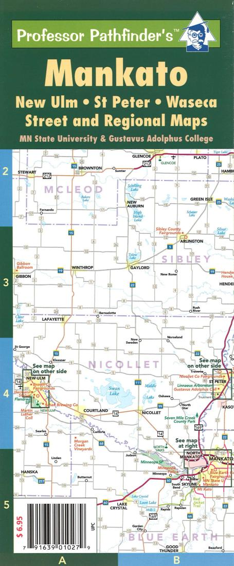 Mankato New Ulm Minnesota Laminated By Hedberg Maps