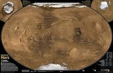 Destination Mars: 2 sided Wall Map (31.25 x 20.25 inches) (Tubed) by National Geographic Maps