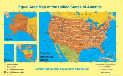 United States, Equal Area Projection, laminated by ODT, Inc.