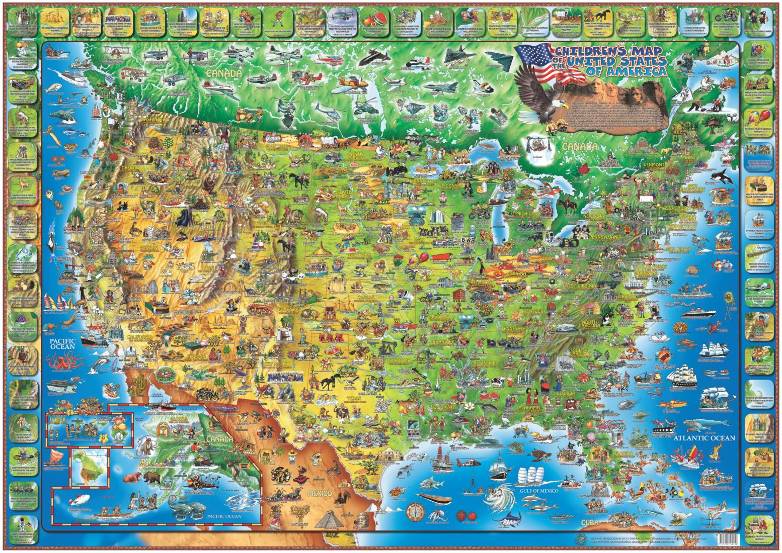 Dino\'s Illustrated Map of the USA by Dino Maps