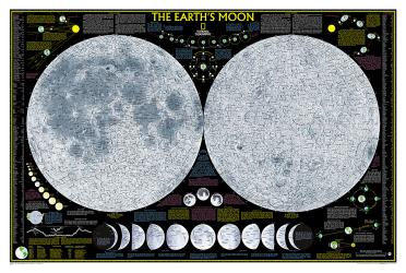 Earth's Moon Wall Map (42.5 x 28.5 inches) (Tubed) by National Geographic Maps