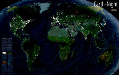 Earth at Night, Tubed by National Geographic Maps