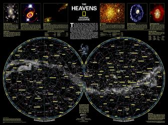 The Heavens Wall Map (30.5 x 22.75 inches) (Tubed) by National Geographic Maps