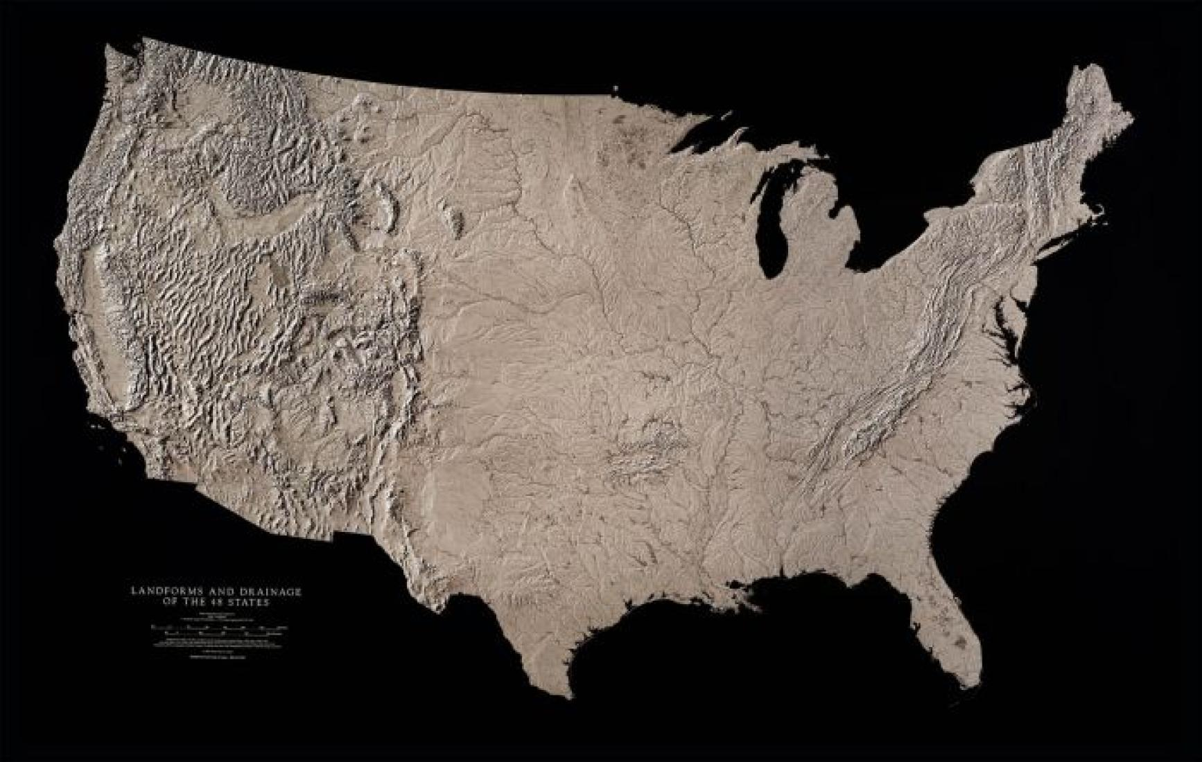 USA, Landforms and Drainage, Black & White Wall Map by Raven Maps