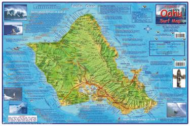 Oahu, Hawaii, 2009 Surf Map, Laminated by Frankos Maps Ltd.