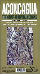 Aconcagua, Argentina, Trekking and Mountaineering Map by Zagier y Urruty
